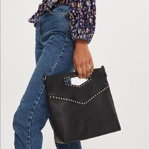 Topshop Leather Studded Grab Handle Tote Bag